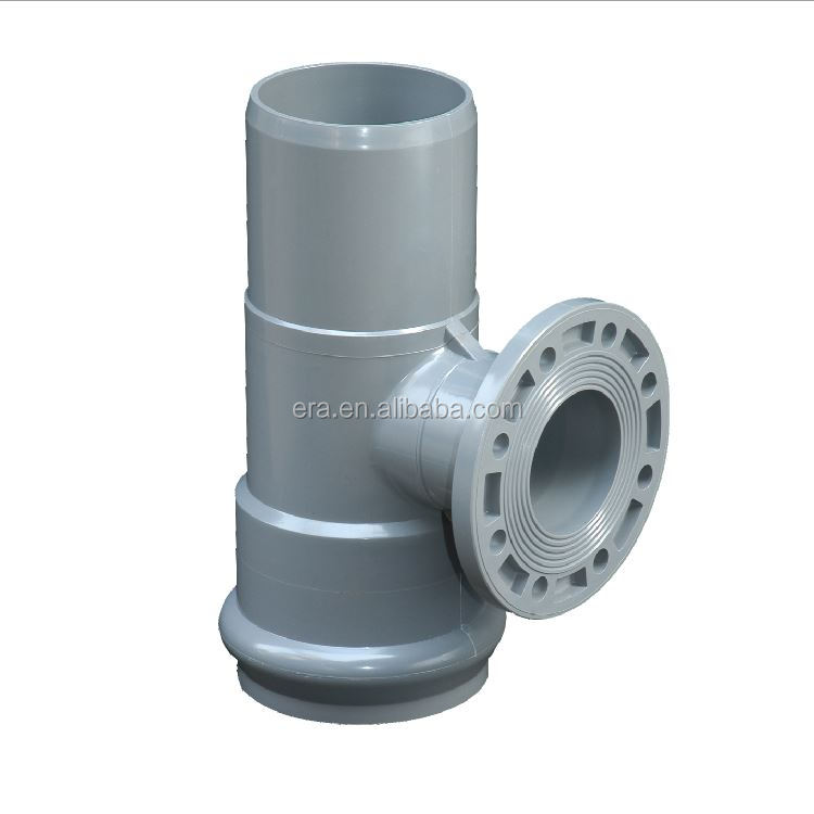 ERA PVC PIPE FITTINGS PN10 FLANGE REDUCING TEE WITH RUBBER RING