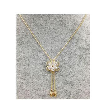 a01xuping jewelry Hot Gold Jewelry long flower Necklace For Women