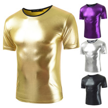 breathable reflective t-shirt trendy men's casual round neck solid <strong>color</strong>