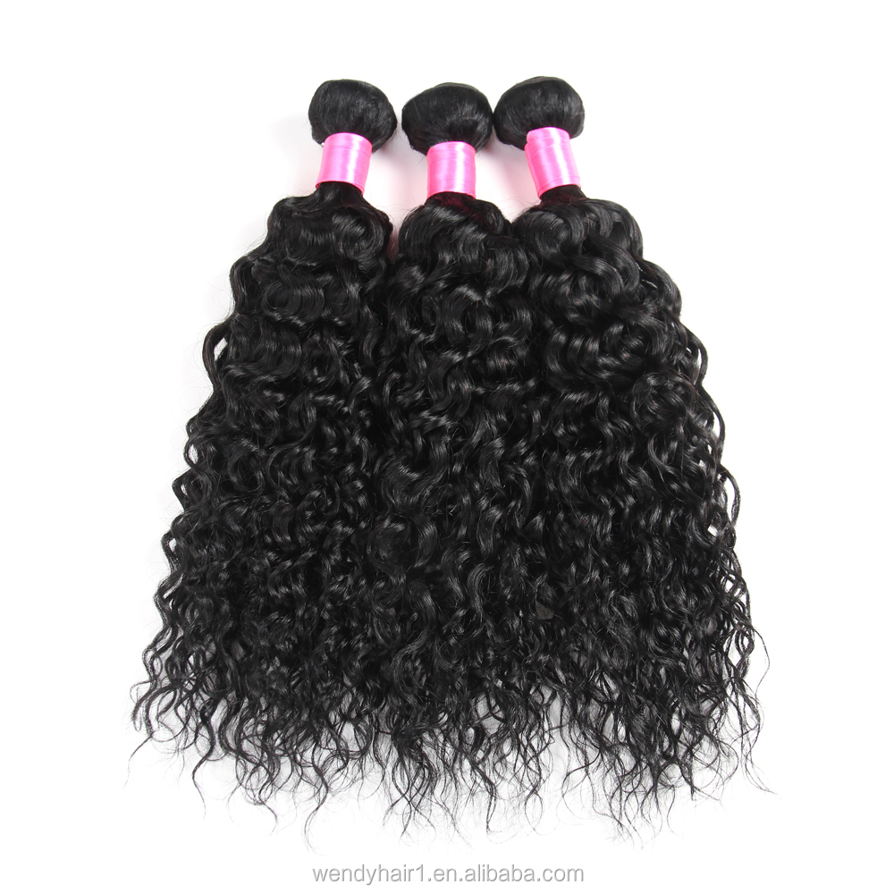 virgin Brazilian Hair Grade Bundles Weave Natural Color 100% Unprocessed Human Hair Water Wave Bundles