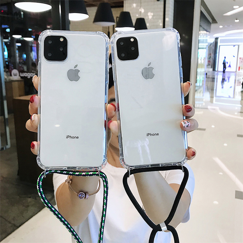 hot sell for 2019 new iPhone XI <strong>11</strong> necklace hanging phone case with multi color strap