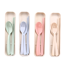 Amazon biodegradable Wheat Straw cutlery set Fork Spoon Chopsticks Tableware set camping <strong>sport</strong> outdoor cutlery