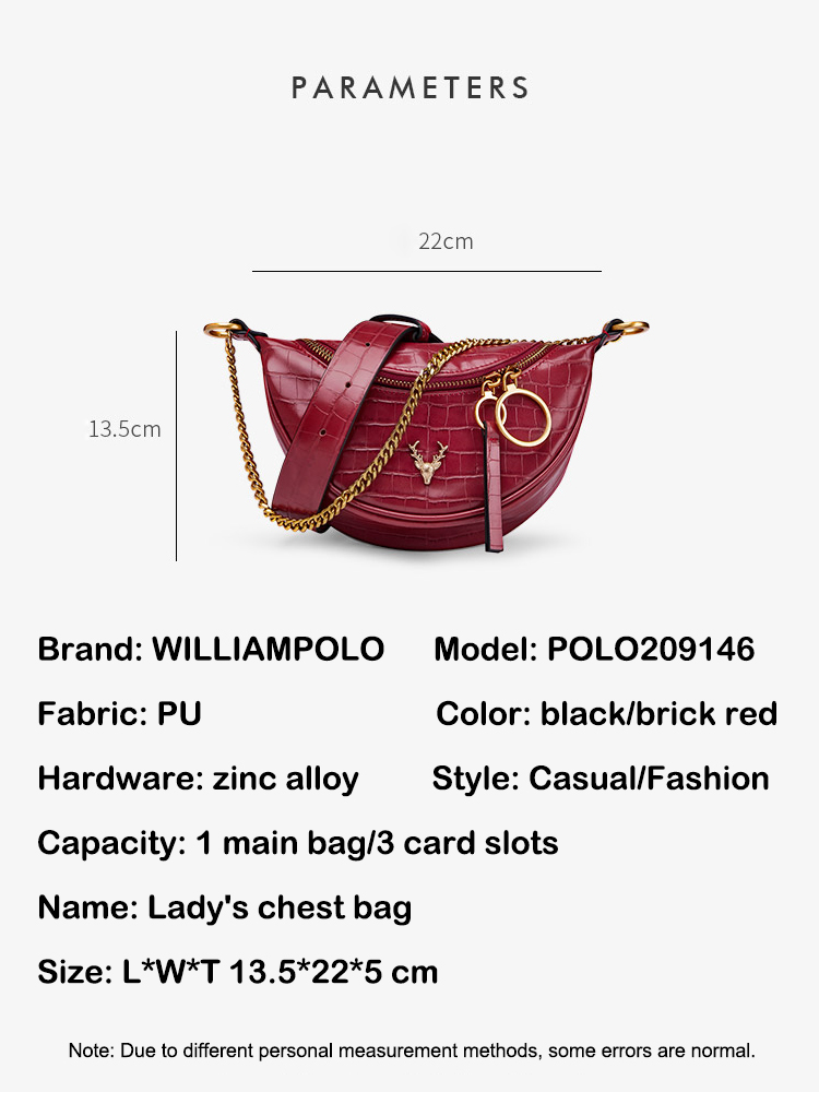 Williampolo chest bag women 2020 new fashion One Shoulder Messenger Bag fashion leather saddle bags waist bag small CK