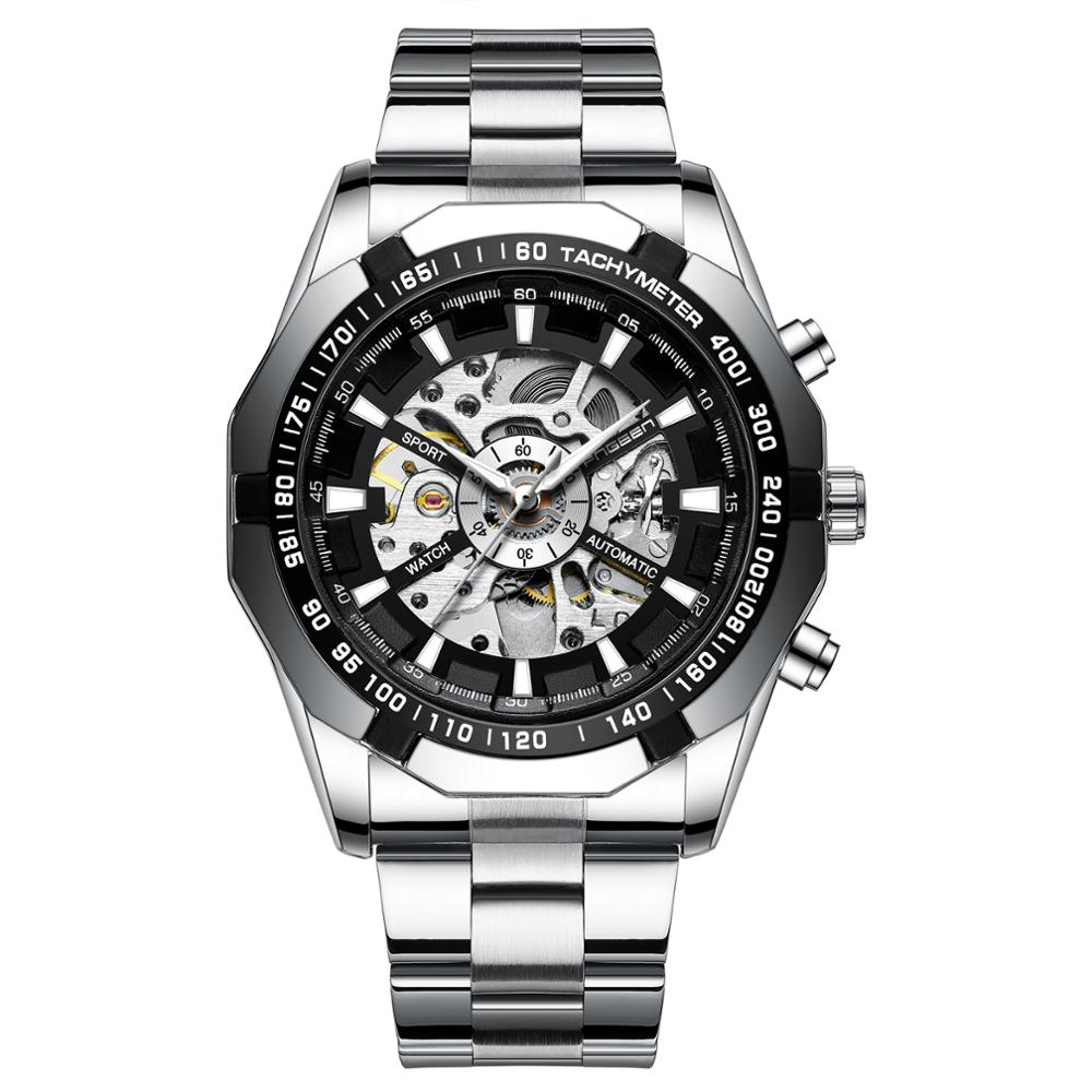 FNGEEN <strong>A001</strong> new design silver men mechanical watch complications steel Strap water proof automatic winder Casual watch set