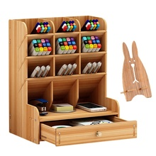 Multi-Functional DIY Wooden Pen Holder Desk Organizer With Drawer With Phone Holder