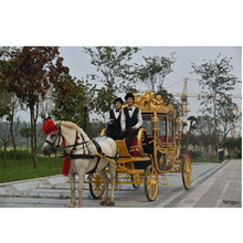 Royal luxury golden horseless carriage for resort hotel