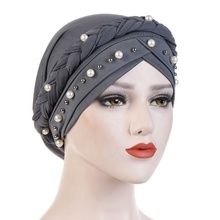 Wholesale 2019 Hot Sale Female Muslim Inner Cap High Quality 8 Colors Plain Pearl Women Braids Muslim Turban Cap Hijab