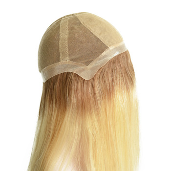 Dark Roots Blond Color Virgin Hair Full Swiss Lace Wig With Silk Top In The Front