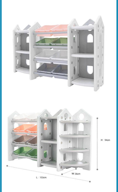 MH168 4 Layer Movable Plastic Cartoon Book Rack Bookcases Children Cartoon Kindergarten Bookshelf and  Storage Shelves