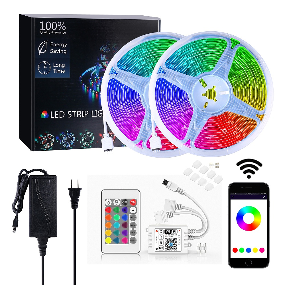 Smart Phone Alexa Control 5m 10m 5050 <strong>RGB</strong> Color IP65 Waterproof WIFI Wireless LED Strip Light