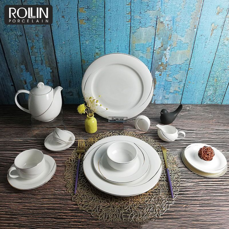 Wholesale high quality custom hotel restaurant ceramic porcelain dinnerware set