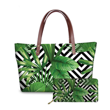 Fashion Tropical Palm Leaves Pattern Handbags With PU Wallets Women Stylish 3D Custom <strong>Totes</strong> for Girls Ladies Drop Shipping 2019