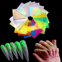 Wholesale 16 pcs/set Cheap adhesive holographic fire 3d flame finger nail art sticker for nail decoration