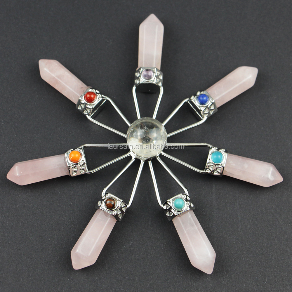 LS-A1024 Crystal Quartz Energy Healing Generator With Ball gemstone 7 Point Chakra Energy Generator Tools Christmas gift ins hot