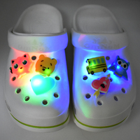 Promotional Gift New Kids Favor LED lighting Summer Beach Clogs Sandals Shoes Charms Accessories Christmas Halloween