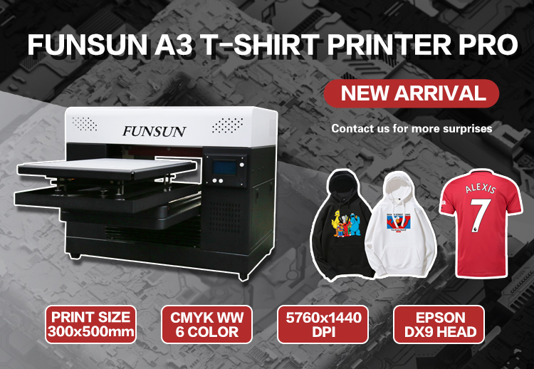 Newest A3 DTG printer digital textile printer polyester wool cotton t-shirt printing machine DTG Printer with dx9 for tshirt