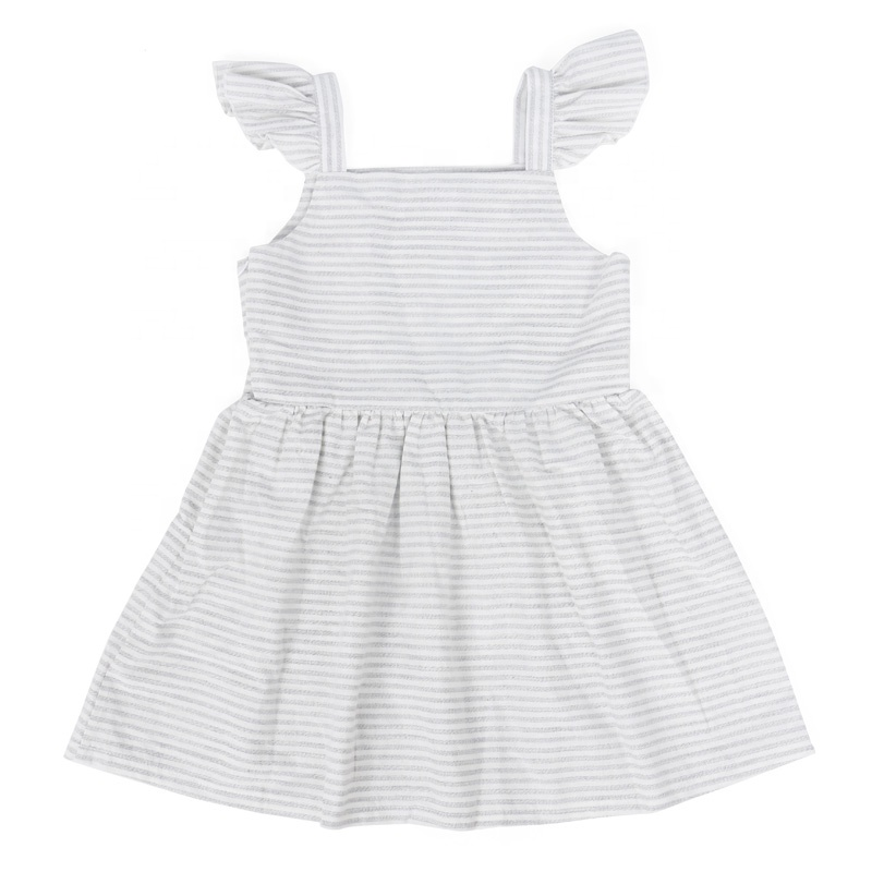 Cheap China Wholesale Clothing Boutique Baby Dress Wholesale Stripe Print Girl Party Dress Flutter Sleeve Linen Kids Girls Dress