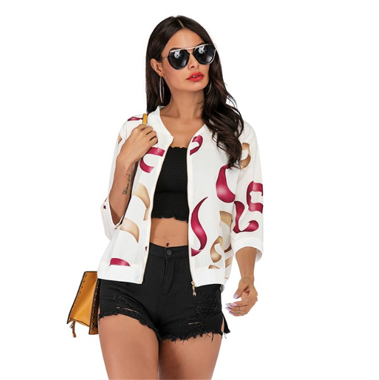 2020 Spring new style womens clothing zipper <strong>coat</strong> casual printed women's jacket