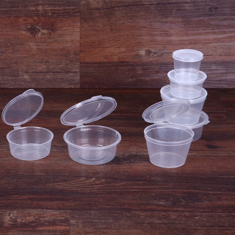 Hot sale disposable feature plastic material sauce cup with lid