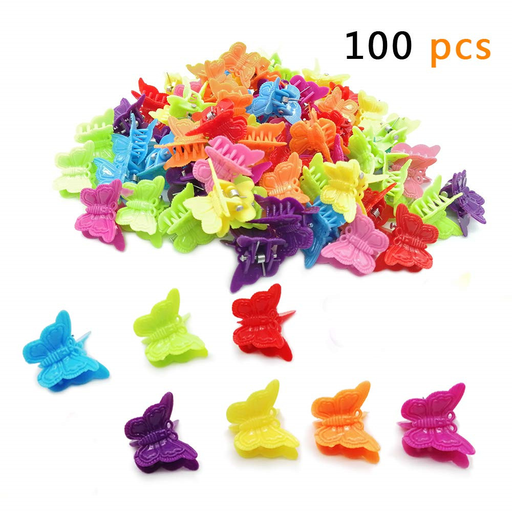 Hair Clips, <strong>100</strong> Packs Assorted Color Beautiful Mini Butterfly Hair Clips Hair Accessories for Girls and Women
