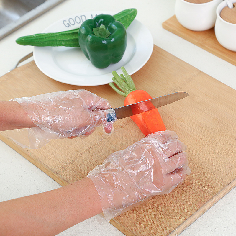 Plastic PE  gloves to cleaning up the kitchen gloves  PE gloves with eyelet HDPE