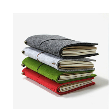 Customized Felt Notebook Cover with Zipper Pocket and Card Slots