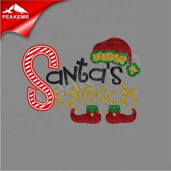 Custom Christmas Santa Heat Press Glitter Vinyl Transfer For Clothing