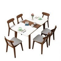 Latest designed modern dining room furniture smart extendable dining table with tempering glass
