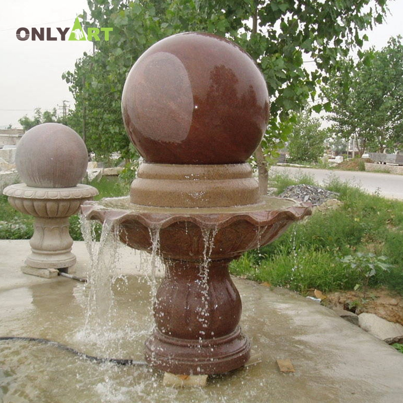 Large outdoor garden roller ball  round stone water fountain
