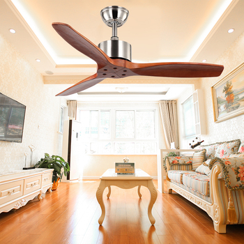 Solid wood decorative ceiling fan 52 inch pure copper motor remote control