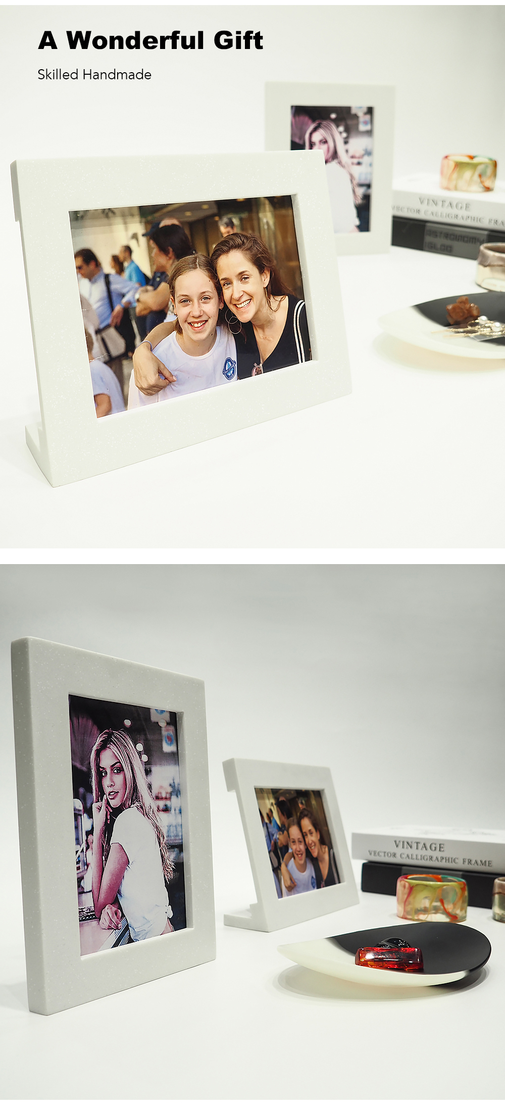 Suanti mini square desk elegant modern handwork resin luxury photo frame gift small multiple wedding picture photo frames set