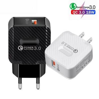 QC3.0 USB Quick Charger QC 3.0 Fast Charging Power Adapter 18W carbon fiber Wall Charger EU US Plug For SAMSUNG IPHONE HUAWEI
