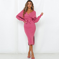 Fashionable women winter sexy sweater dress lady backless long sleeve v-neck slim fit dress plus size sweaters long dresses