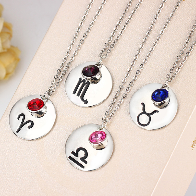 Hot Sale 12 Zodiac Pendant Necklace Stainless <strong>Steel</strong> 12 Constellations Necklace With Birth Stone