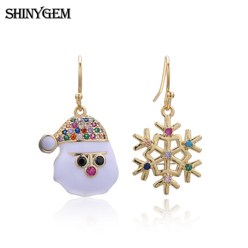 cz micro pave gold custom merry christmas hat jewelry fashion snowman elk charms statement drop earrings for women gifts