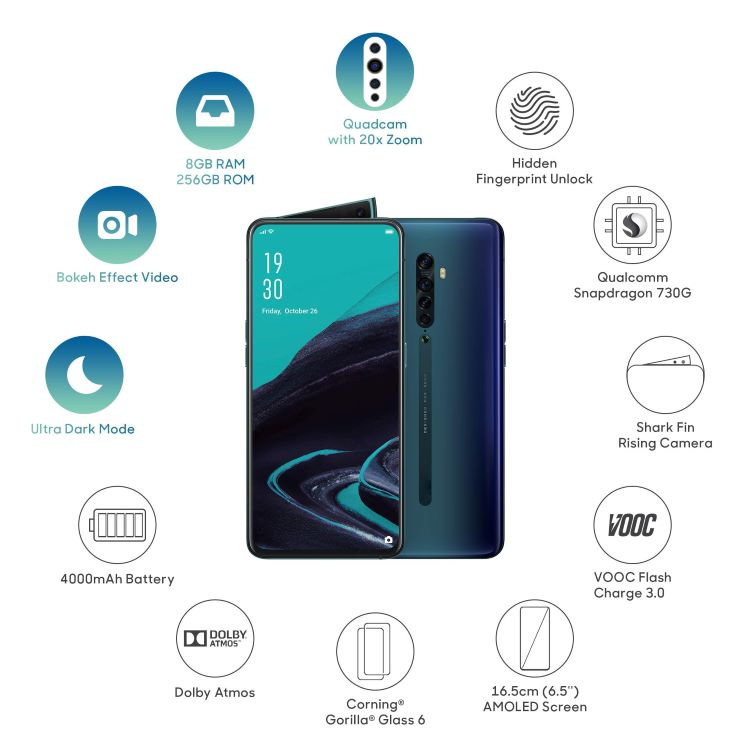 "100% Official Original for OPPO Reno 2 Mobile Phone Cellphone Snapdragon730G 20x zoom 6.5"" AMOLED Screen Support NFC Phone"