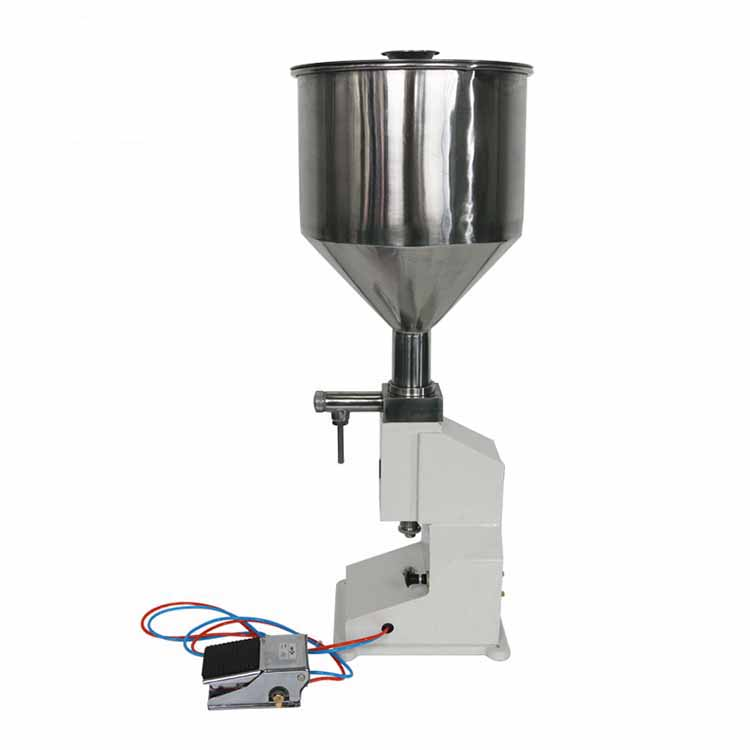 Hot Sell <strong>A02</strong> Semi Automatic Pneumatic Small Style Portable 5-50ML High Accuracy Small Bottle Paste Liquid Filling Machine