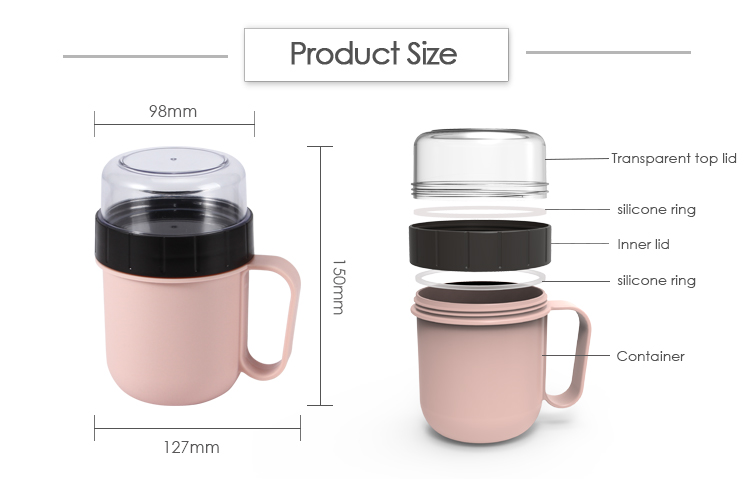 Leakproof  food grade PP  BPA free  multi-funcion 750ml cup Soup Mug