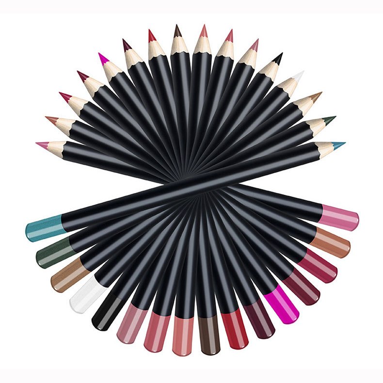 Deluxe Ultra Fine Lip Liner set of 16 cruelty free wholesale OEM cosmetic lip liner pencil private label makeup vegan lip liner