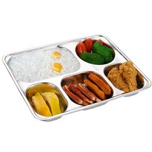 Wholesale stainless steel rectangle 5 compartment tray fast food serving <strong>plate</strong> for adults kids