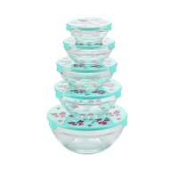 5pcs Glass Bowl Set with Plastic Lids with Custom Decals