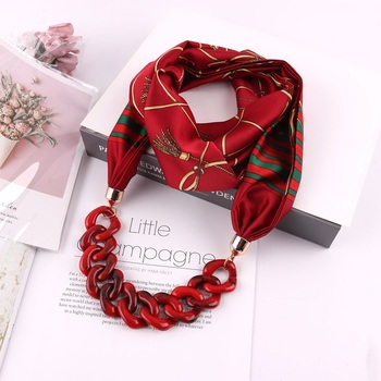Popular hot red chain accessory infinity pendant scarf printing polyester soft Necklace Jewelry scarf