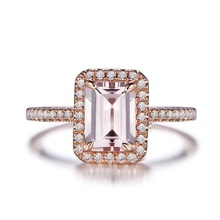 925 Sterling Silver Jewelry 18k Rose Gold Plated Emerald Cut Engagement Halo Morganite <strong>Ring</strong>