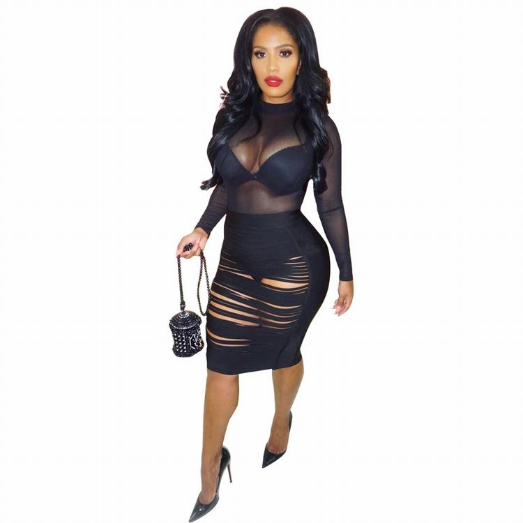 2019 Cheap Apparel Stripped Cutout Black See Through Sexy Party Dress Bandage Bodycon Dresses