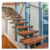 Straight Mild Steel Glass Modern Floating Staircase/Prefab Steel Glass Stair indoor