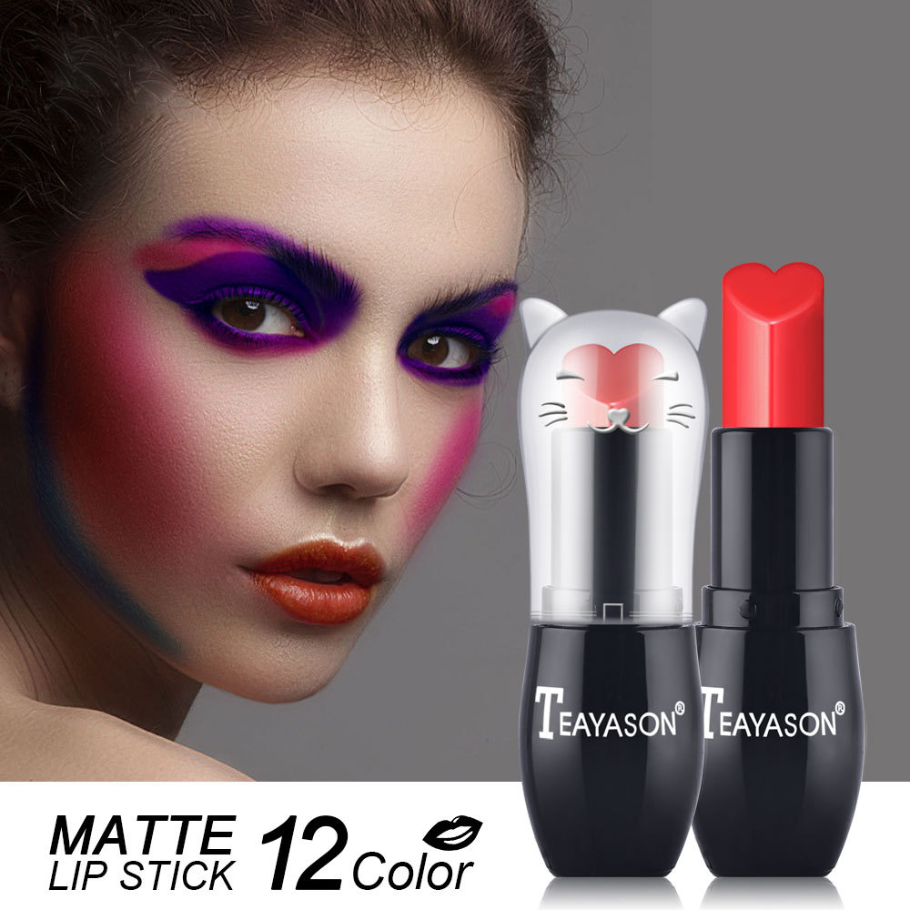 12 Color Eco Friendly Material High Pigment Organic Cat Shape Waterproof Matte Lipstick
