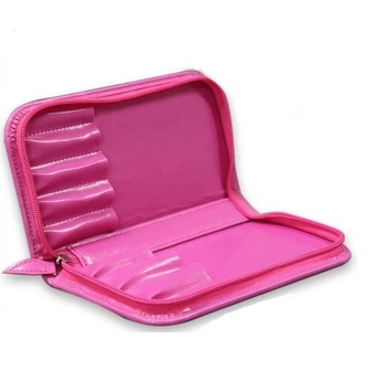 Good quality luxury hot pink cosmetic case mini zipper makeup brush bag cosmetic bag with logo