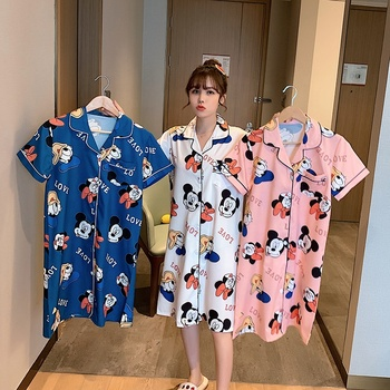 hot selling summer fashion rayon printing floral elegant nightdress for women