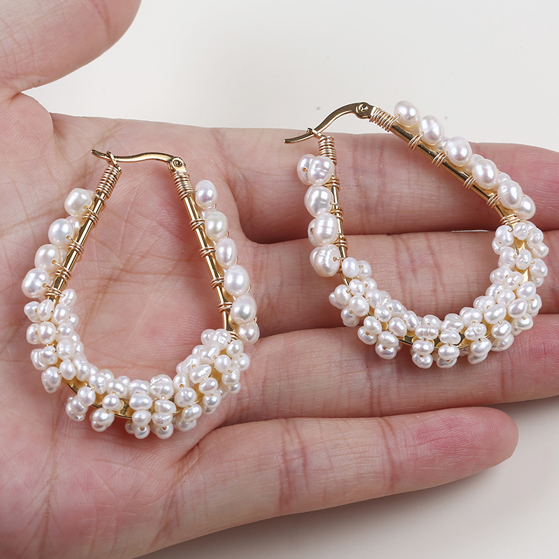 fancy gold real pearl earrings for party girls