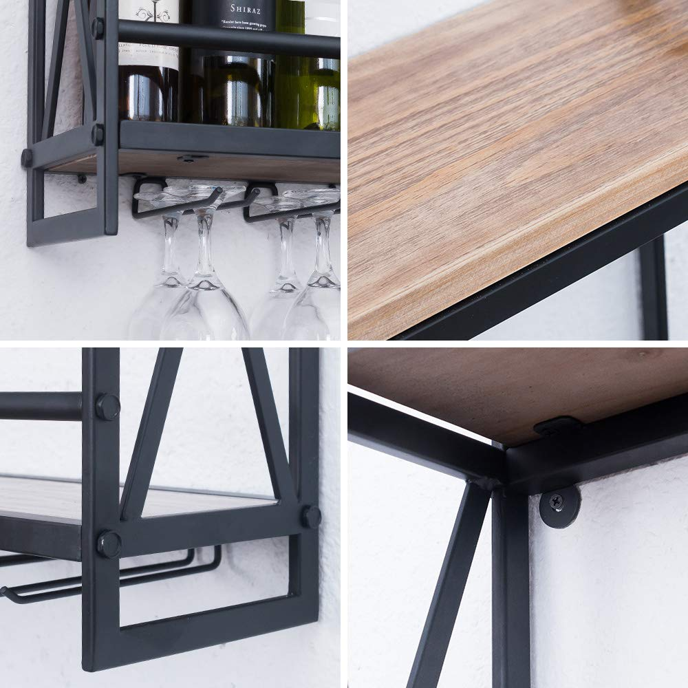Rustic Wooden 2-tier Wine Rack